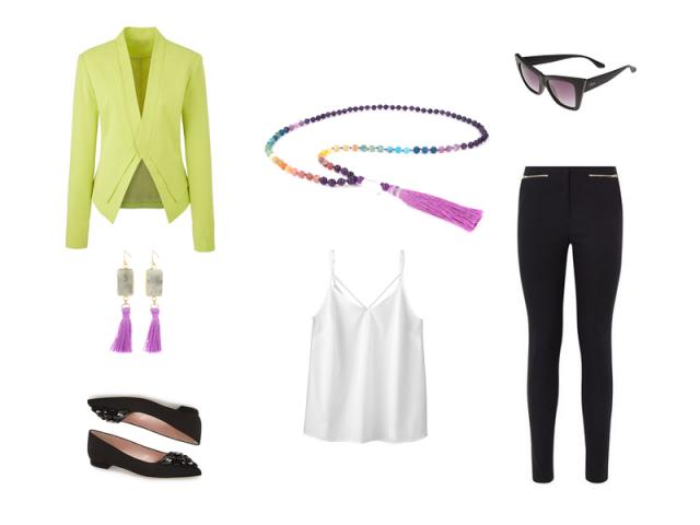 Outfit: Fialovo-žltá kombinácia