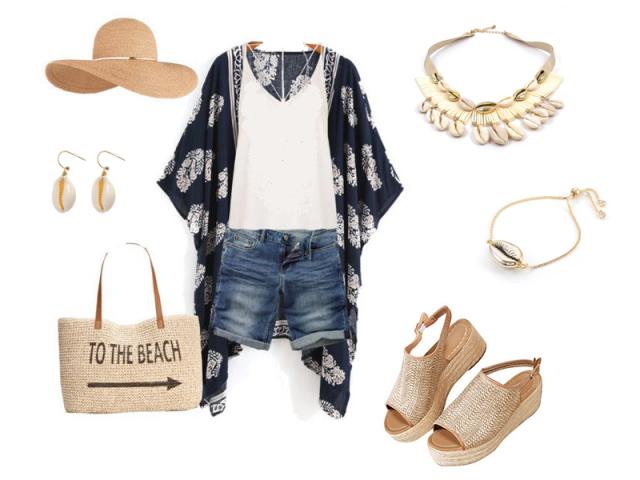 Outfit: Na pláž s mušľami