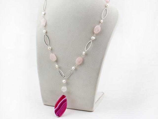Náhrdelník biele perly, ruženín a prívesok achát
