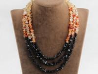 Viacprameňový náhrdelník citrín, achát a black stone
