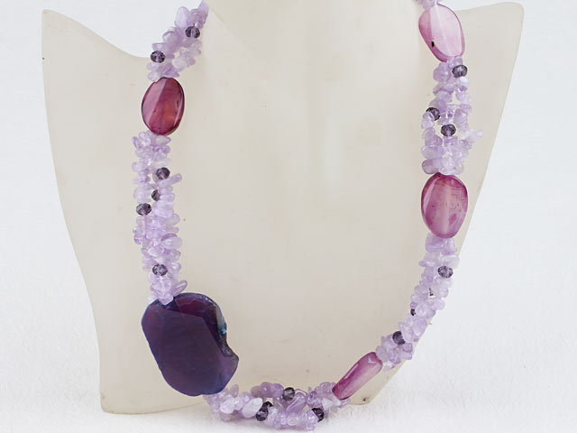 Náhrdelník achát a fialový jadeit
