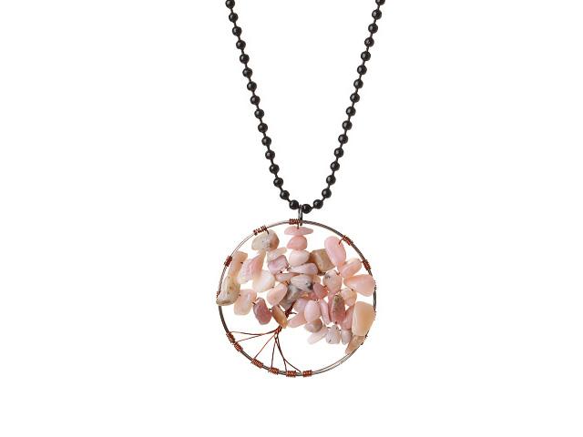 Náhrdelník s príveskom stromček - ružový opál
