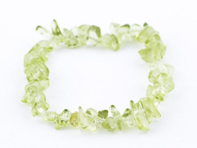 Elastický sekaný náramok olivín