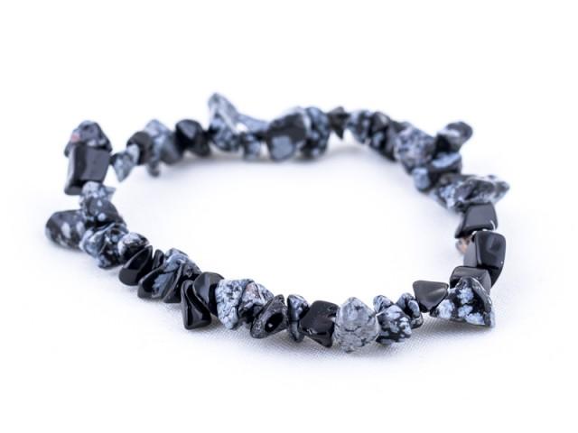 Elastický sekaný náramok vločkový obsidián
