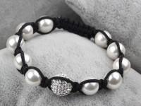 Shamballa náramok biele shell perly a CZ krištáľ