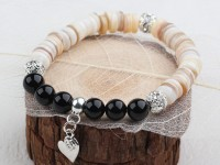 Náramok čierny achát, perleť a krištáľ