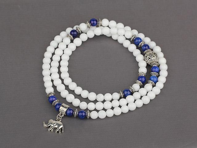 Náramok biely jadeit a lapis lazuli s príveskom slona