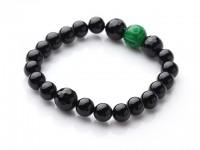 Náramok čierny achát a zelený jadeit