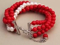 Náramok červený koral a biele riečne perly