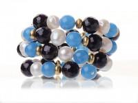 Náramok biele riečne perly, modrý a fialový achát