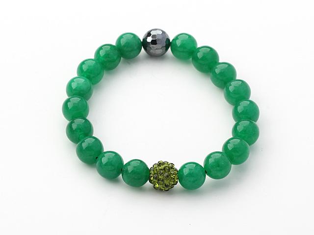 Náramok zelený jadeit, hematit a olivovozelený CZ krištáľ