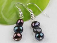 Náušnice čierne riečne perly