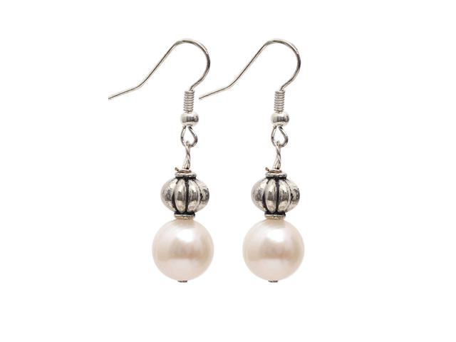 Náušnice 10-11 mm biela riečna perla