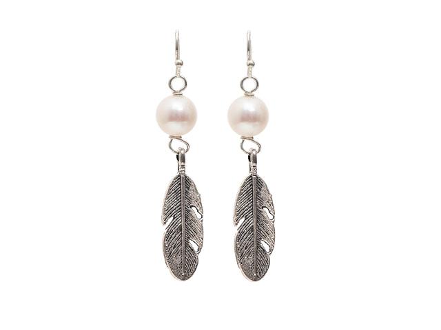 Náušnice prírodná biela riečna perla a tibetské striebro - A kvalita