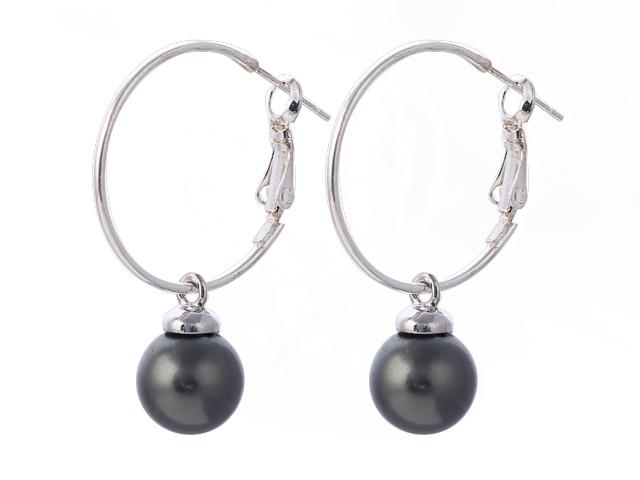 Náušnice čierna shell perla 10mm s veľkým krúžkom