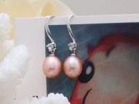 Náušnice ružová riečna perla s krištáľom + Ag925