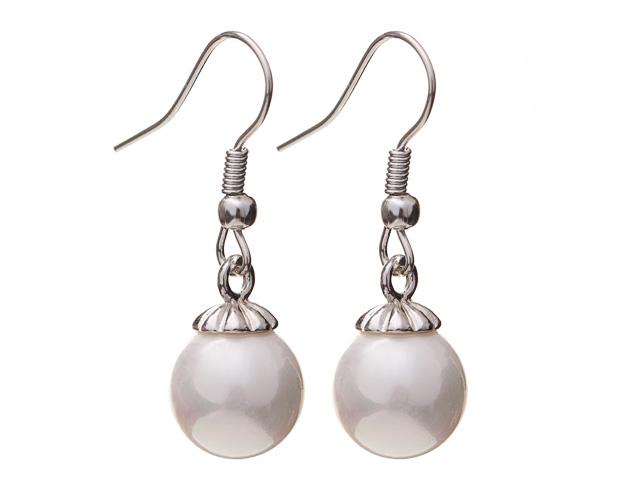 Náušnice biela shell perla 10mm