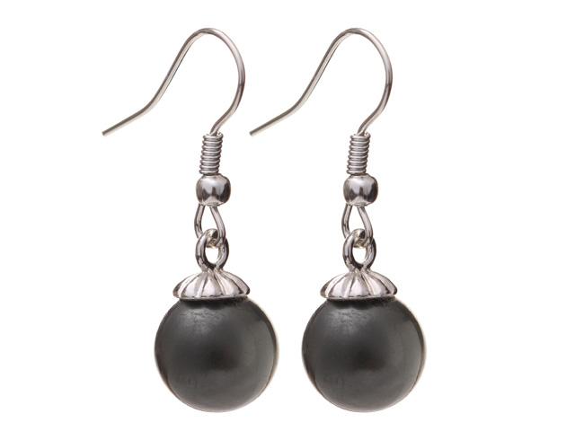 Náušnice čierna matná shell perla 10mm