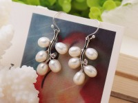 Náušnice biela riečna perla v tvare vetvičky