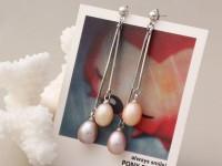 Visiace náušnice ružová a fialová riečna perla oválneho tvaru 8-9mm