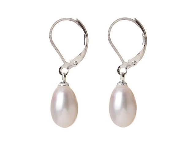 Náušnice biela riečna perla v tvare kvapky