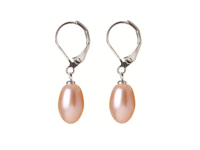 Náušnice ružová riečna perla v tvare kvapky