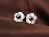 Náušnice v tvare kvetu a čierna riečna perla + Ag925 zapínanie