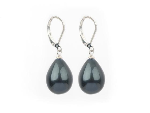 Náušnice čierne shell perly v tvare kvapky