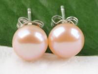 Prepichovacie náušnice 8-8,5 mm ružová riečna perla