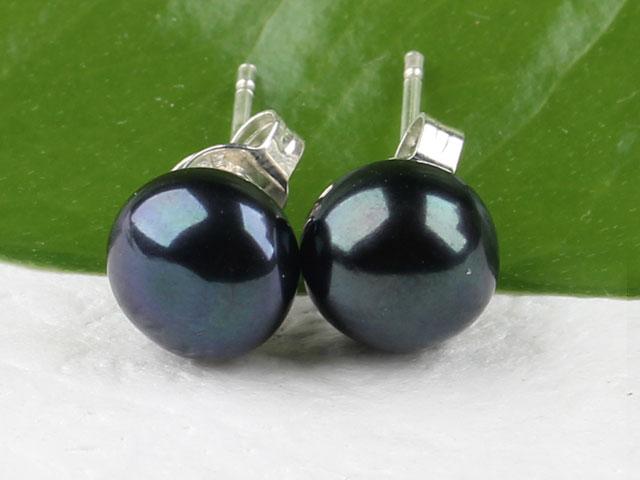 Prepichovacie náušnice 8-8,5 mm prírodná čierna riečna perla