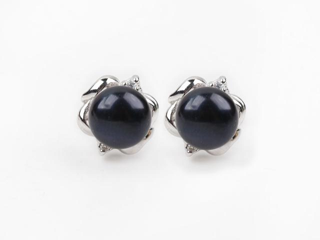 Náušnice čierna riečna perla 10mm