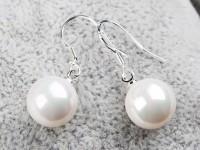Náušnice biela 10mm shell perla + Ag925