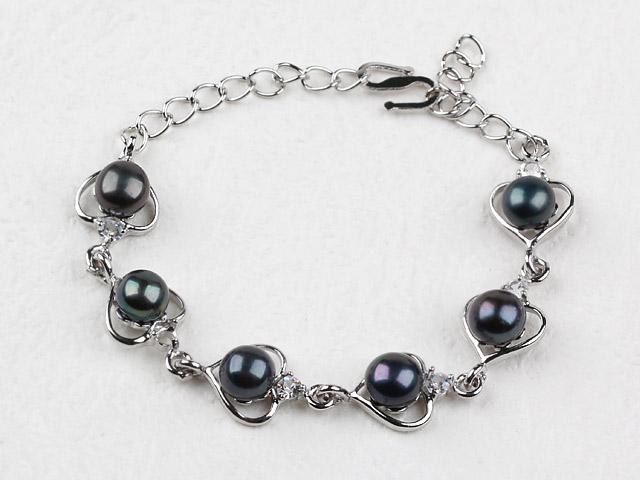 Náramok čierne riečne perly