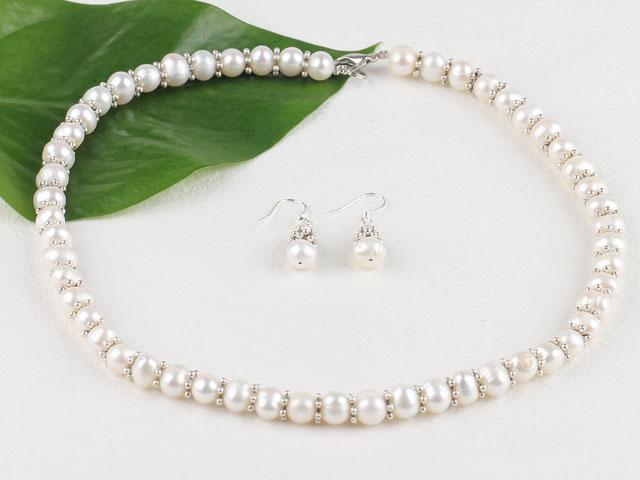 Súprava náhrdelník a náušnice biele riečne perly 8-9mm