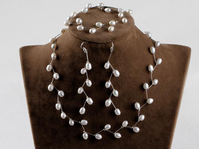 Súprava náhrdelník, náramok a náušnice 6-7 mm biele riečne perly