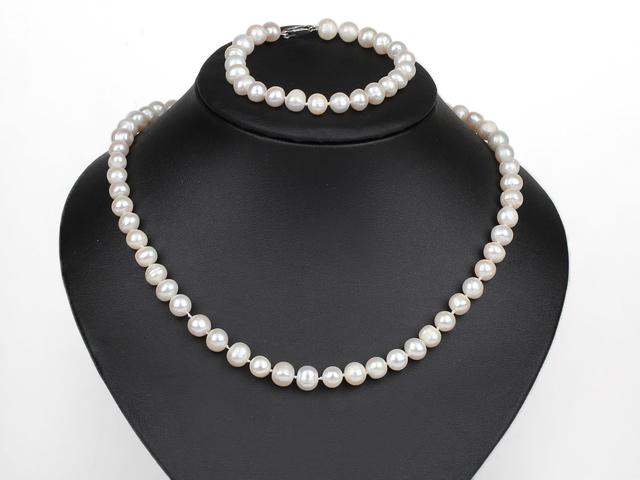 Súprava náhrdelník a náramok biele riečne perly 8-9mm