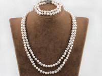 Súprava dvojprameňový náhrdelník a náramok biele riečne perly