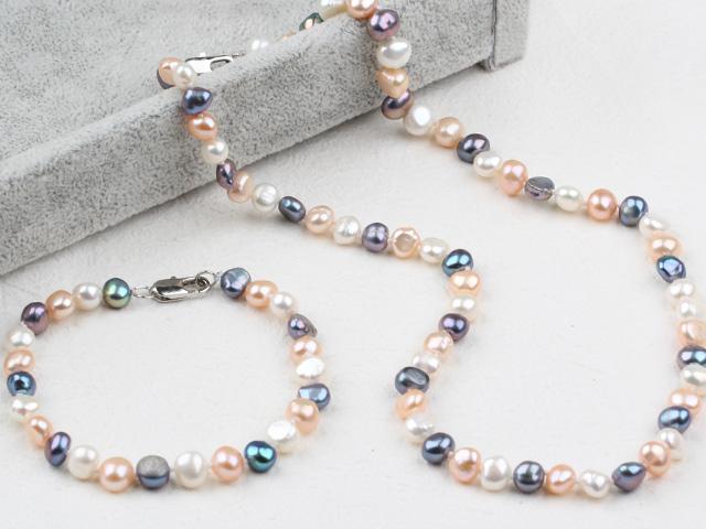 Súprava náhrdelník a náramok trojfarebné riečne perly
