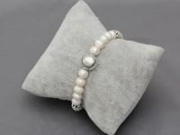 Súprava náhrdelník, náramok a náušnice biele riečne perly