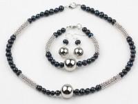 Súprava náhrdelník, náramok a náušnice čierne riečne perly