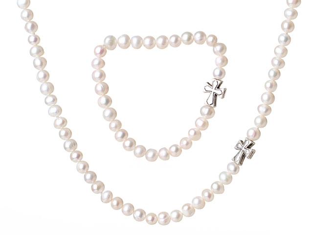 Súprava náhrdelník a náramok 6-7mm biele riečne perly s krížikom