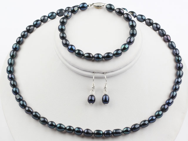 Súprava náhrdelník, náramok a náušnice čierne riečne perly 6-7mm