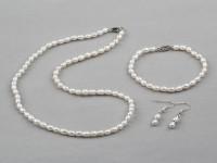 Súprava náhrdelník, náramok a náušnice biele riečne perly v tvare ryže