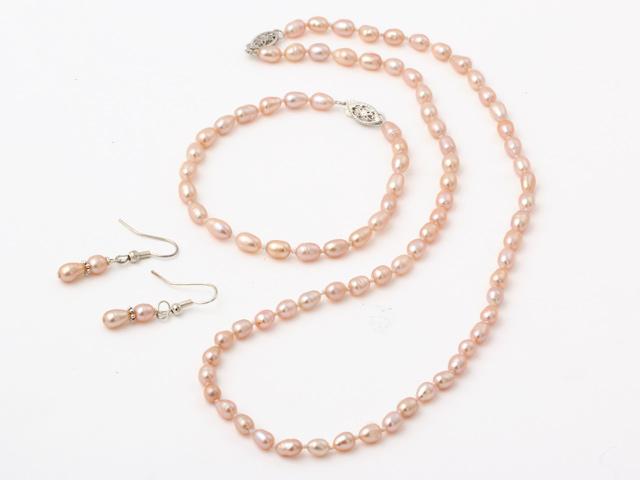 Súprava náhrdelník, náramok a náušnice ružové riečne perly v tvare ryže