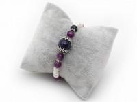 Súprava náhrdelník, náramok a náušnice biele riečne perly a fialový achát
