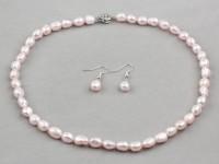 Súprava náhrdelník a náušnice ružové riečne perly