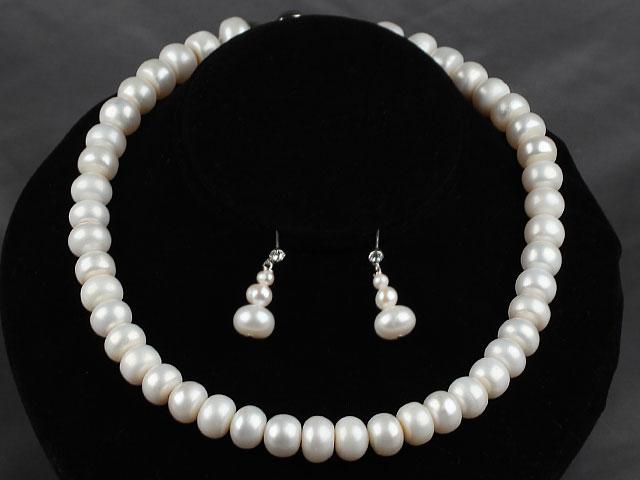 Súprava náhrdelník a náušnice biele riečne perly 12mm