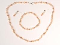 Súprava náhrdelník, náramok a náušnice biele a ružové riečne perly