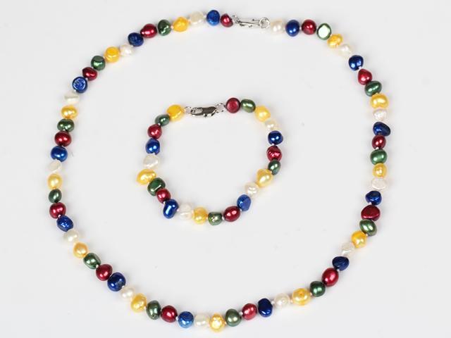 Súprava náhrdelník a náramok 6-7 mm viacfarebné riečne perly