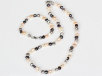 Súprava náhrdelník a náramok 6-7 mm viacfarebné riečne perly II